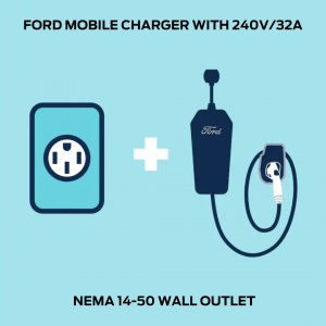 FORD MOBILE CHARGER WITH 240V2F32A NEMA 14 50 WALL OUTLET 1